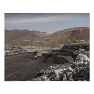 Mountaintop surface coal mine showing coal being poster