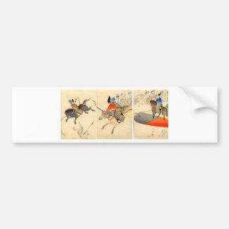Mounted Archery Chasing Dogs circa 1896. Japan. Bumper Sticker