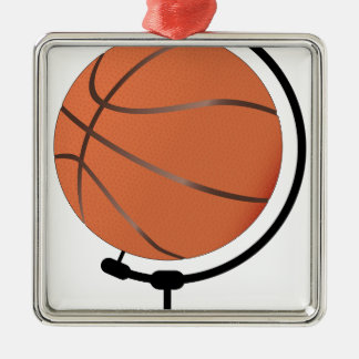 Mounted Basketball On Rotating Swivel Silver-Colored Square Decoration