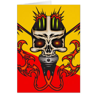 Mounted Cyborg Skull with Flames Note Card