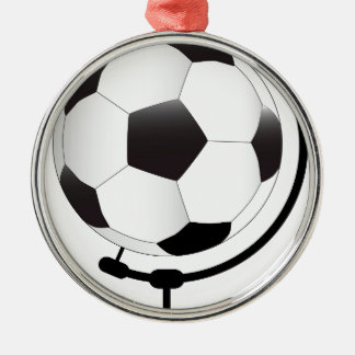 Mounted Football On Rotating Swivel Silver-Colored Round Decoration