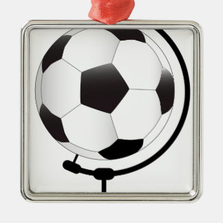 Mounted Football On Rotating Swivel Silver-Colored Square Decoration