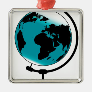 Mounted Globe On Rotating Swivel Silver-Colored Square Decoration