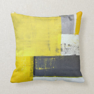 'Mounted' Grey and Yellow Abstract Art Cushion