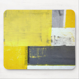 'Mounted' Grey and Yellow Abstract Art Mouse Mat