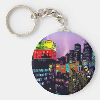 Mounted Policemen Asian City Modern Art Print Basic Round Button Key Ring