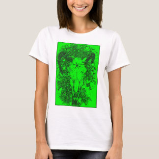 Mounted Stang Pencil Sketch in Green T-Shirt