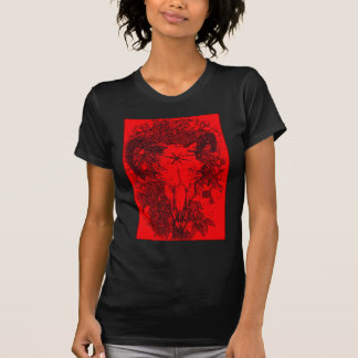 Mounted Stang Pencil Sketch in Red T-Shirt