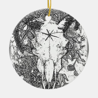 Mounted Stang Pencil Sketch in White Round Ceramic Decoration
