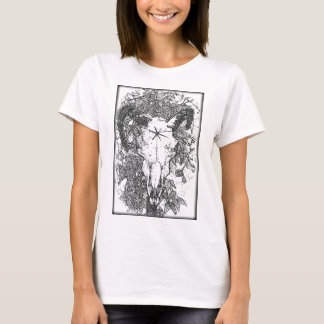 Mounted Stang Pencil Sketch in White T-Shirt