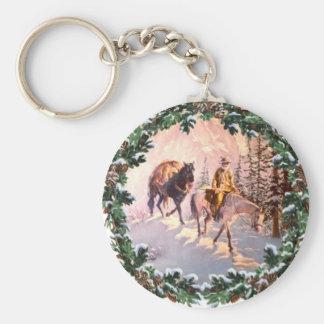 MOUNTIAN MAN & WREATH by SHARON SHARPE Basic Round Button Key Ring