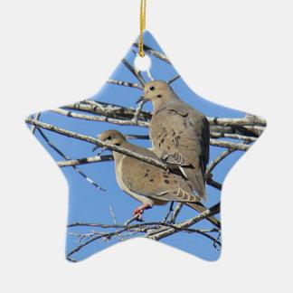 Mourning Dove Bird Pair Ceramic Star Decoration