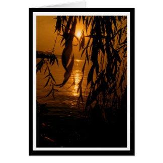 Mourning pasture with sunset map greeting card