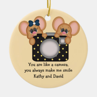 Mouse and Camera Round Ceramic Decoration