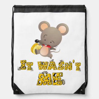 Mouse and cheese drawstring backpacks