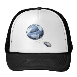 Mouse and globe internet concept trucker hats