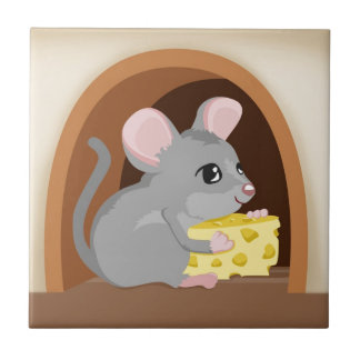 Mouse and mouse hole small square tile