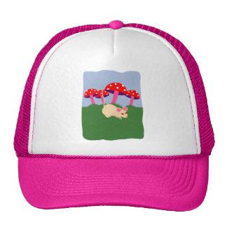 Mouse and Mushroom Cartoon Art Trucker Hats
