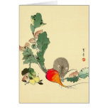 Mouse and Red Radish, Japanese Painting c.1800s Cards