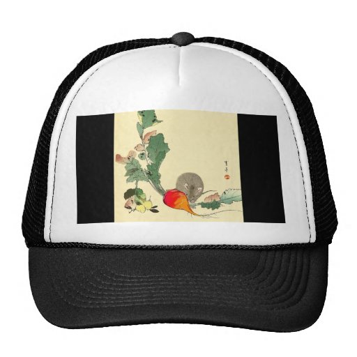 Mouse and Red Radish, Japanese Painting c.1800s Trucker Hats