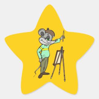 Mouse Artist Star Sticker