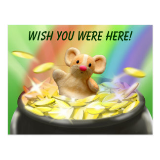 Mouse at the end of the rainbow postcard