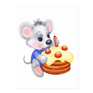 mouse birthday cake post cards
