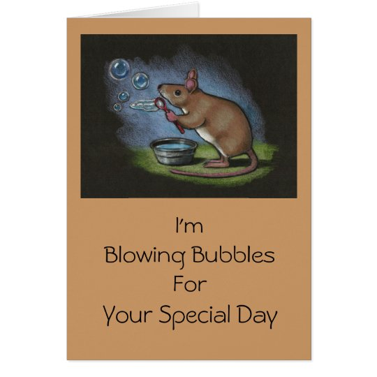 Mouse Blowing Bubbles: All Occasion: Colour Pencil Card
