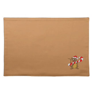Mouse/Candy Cane Brown Christmas Cloth Placemat