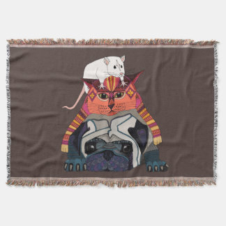 mouse cat pug chocolate throw blanket