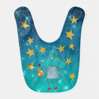 Mouse Cheese Shiny Stars Stripes Gold Baby Bib