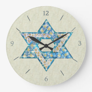 Mouse Drawn Gem Decorated Star Of David Large Clock