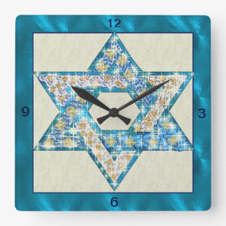 Mouse Drawn Gem Decorated Star Of David Wall Clocks