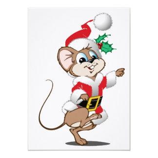 Mouse dressed as Santa 13 Cm X 18 Cm Invitation Card