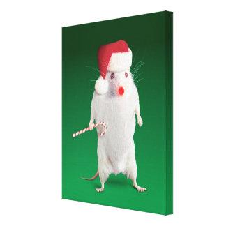 Mouse dressed as Santa Claus Canvas Print