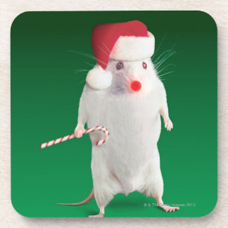 Mouse dressed as Santa Claus Coaster
