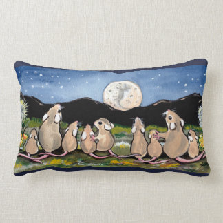 Mouse Family Watching Moon Designer Accent Pillow