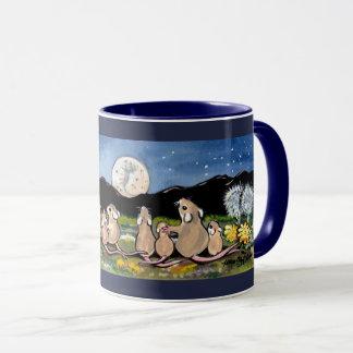 Mouse Family Watching Moon Designer Dark Blue Mug