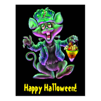 Mouse Frankenstein Trick or Cheese Postcard