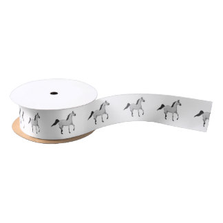 Mouse Grey Arabian Horse Trotting and Prancing Satin Ribbon