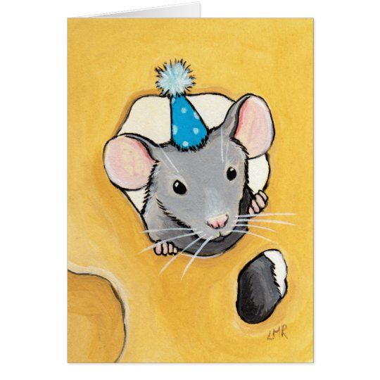 Mouse in a Blue Party Hat  - Blank Animal Art Card