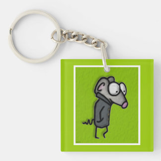 Mouse in a Trench Double-Sided Square Acrylic Key Ring