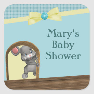 Mouse In House Baby Shower Green Yellow Stickers
