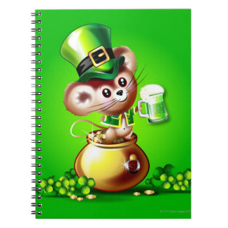 Mouse in pot of gold holding pint of green beer spiral notebook