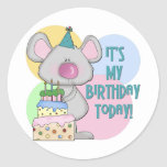 Mouse Kids Birthday Gift Round Stickers