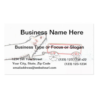 mouse lifting up outline with wagon business card template