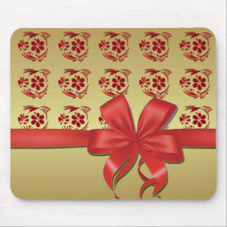 Mouse mat hummingbird and red node gold mouse pad