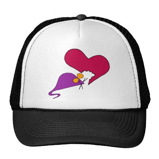Mouse nibbling away at your heart trucker hats