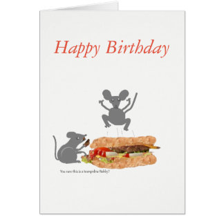 Mouse on BeefburgerTrampoline Birthday card