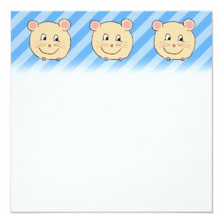 Mouse on Blue Stripes. 13 Cm X 13 Cm Square Invitation Card